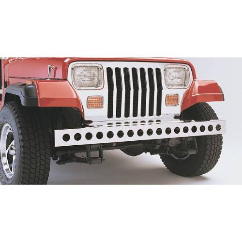 Fat Bob's Garage, Rugged Ridge, Part #11107.02, Front Bumper W/Holes, Stainless Steel MAIN