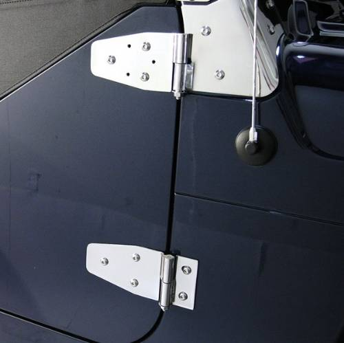 Fat Bob's Garage, Rugged Ridge, Part #11112.02, Jeep TJ/LJ Windshield Hinges, Stainless Steel 1997-2006 MAIN