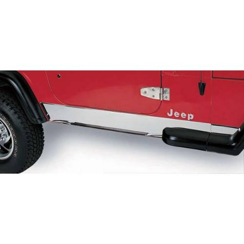 Fat Bob's Garage, Rugged Ridge, Part #11145.02, Jeep TJ Wrangler Rocker Panel Cover, Stainless Steel 1997-2006 MAIN