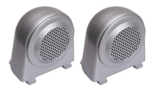 Fat Bob's Garage, Rugged Ridge, Part #11151.11, Jeep JK Wrangler Tweeter Speaker Enclosures, Brushed Silver 2007-2010 MAIN
