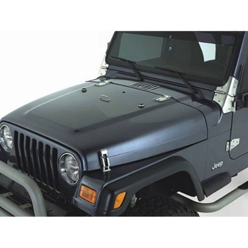 Fat Bob's Garage, Rugged Ridge, Part #11185.65, Jeep TJ/LJ Wrangler Complete Hood Kit, Satin Stainless Steel 1998-2006 MAIN