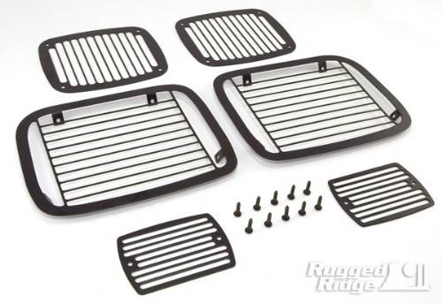 Fat Bob's Garage, Rugged Ridge, Part #11236.20, Jeep YJ Wrangler Stone Guard Set, Black 1987-1995 MAIN