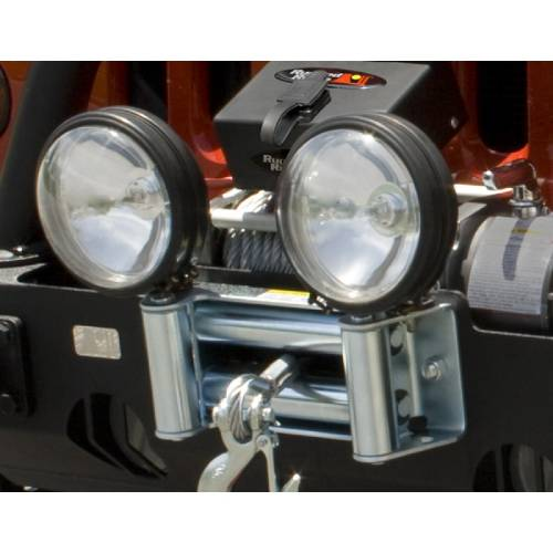Fat Bob's Garage, Rugged Ridge, Part #11238.03, Roller Fairlead With Offroad Light Mounts_MAIN