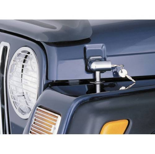 Fat Bob's Garage, Rugged Ridge, Part #11302.03, Jeep TJ/LJ Wrangler Locking Hood Catch Kit, Chrome 1997-2006 MAIN
