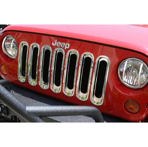 Fat Bob's Garage, Rugged Ridge, Part #11306.20, Jeep JK Wrangler Grille Inserts Chrome 2007-2016 MAIN