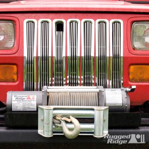 Fat Bob's Garage, Rugged Ridge, Part #11401.01, Jeep YJ Wrangler Billet Grille Inserts Chrome 1987-1995 MAIN