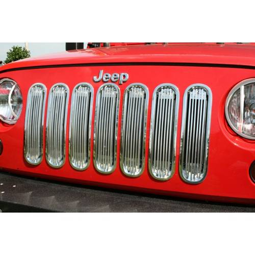 Fat Bob's Garage, Rugged Ridge, Part #11401.20, Jeep JK Wrangler Billet Grille Insert Polished Aluminum 2007-2016_MAIN