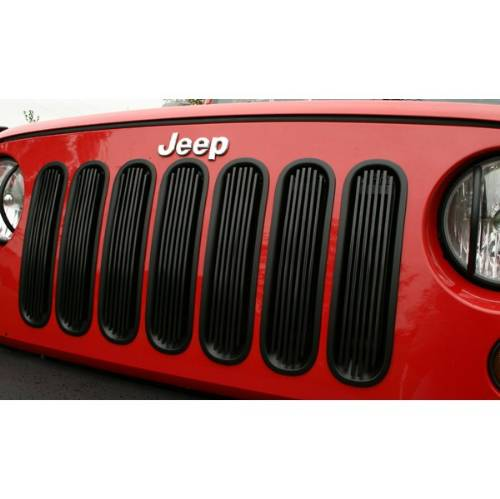 Fat Bob's Garage, Rugged Ridge, Part #11401.30, Jeep JK Wrangler Billet Grille Insert, Black, 2007-2016 MAIN