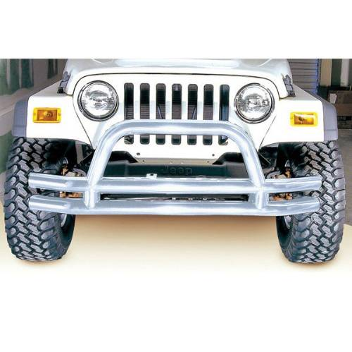 "Fat Bob's Garage, Rugged Ridge, Part #11563.01, Jeep CJ/Wrangler 3"" Double Tube Front Bumper, Stainless Steel 1976-2006 MAIN"