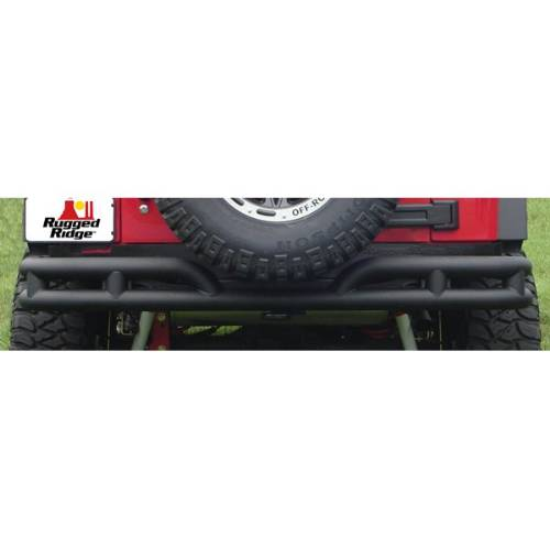 "Fat Bob's Garage, Rugged Ridge, Part #11571.10, Jeep JK Wrangler 3"" Double Tube Rear Bumper 2007-2016 MAIN"
