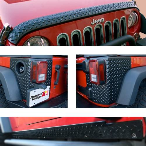 Fat Bob's Garage, Rugged Ridge, Part #11651.51, Jeep JK Wrangler 2 Door 5 Piece Body Armor Guard Kit 2007-2016 MAIN