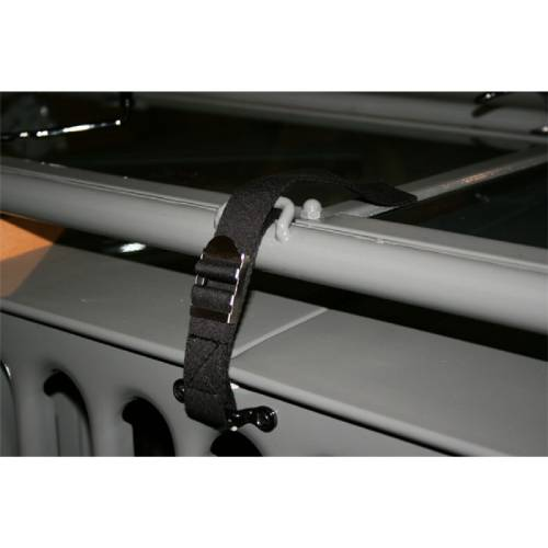 Fat Bob's Garage, OMIX-ADA Part #11825.20, Windshield Tie Down Strap, Black Canvas MAIN