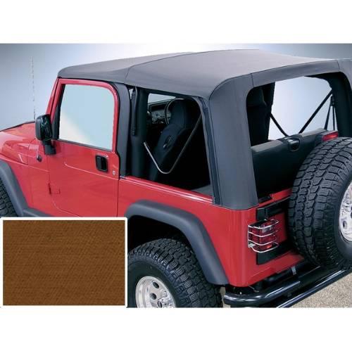 Jeep Tj Wrangler Soft Top No Door Skins Dark Tan Clear Windows