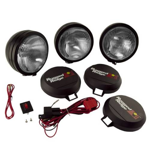 "Fat Bob's Garage, Rugged Ridge, Part #15205.62, HID Off Road Fog Light Kit, 3 Lights 5"" Round Black_MAIN"