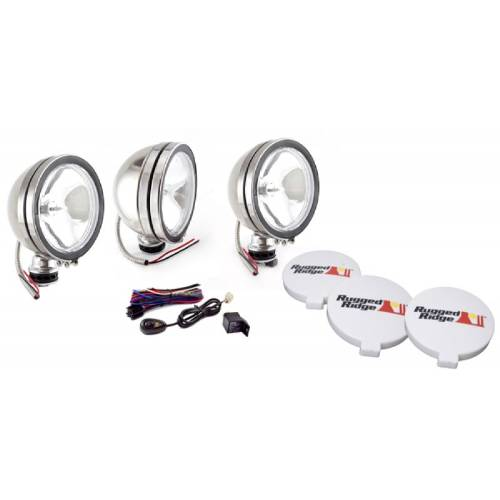 Fat Bob's Garage, Rugged Ridge, Part #15208.61, 6-Inch Halogen Fog Light Kit Stainless Steel Housings MAIN