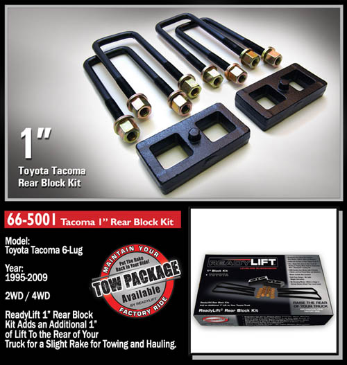 "Fat Bob's Garage, Ready Lift Part #66-5001, Toyota Tacoma 1"" Rear Block Kit 4WD/2WD 1995-2016 (6-lug) LARGE"