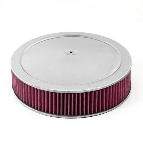 "Fat Bob's Garage, Rugged Ridge, Part #17751.52, Air Cleaner Assembly, 14"" Round, Chrome Lid W/Synthetic Filter THUMBNAIL"