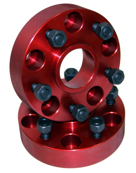 "Fat Bob's Garage, Alloy USA Part #11301, Wheel Spacer, Red, Pair, 5 On 4.5 Bolt Pattern, 1.25"" Thick_MAIN"