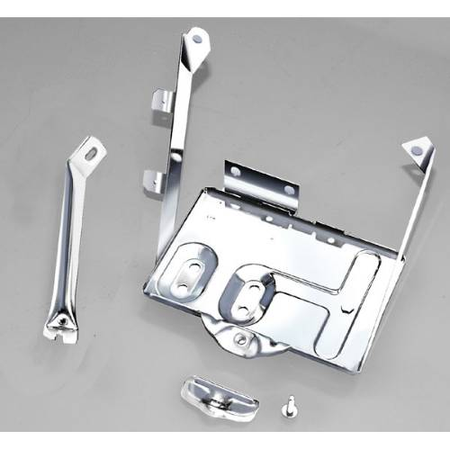 Fat Bob's Garage, Rugged Ridge, Part #11132.01, Jeep CJ Battery Tray Kit, Stainless Steel 1976-1986 THUMBNAIL