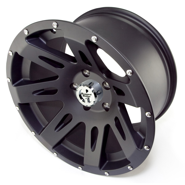 Fat Bob's Garage, Rugged Ridge, Part #15301.01, Aluminum Wheel 17X9 Black Stain, 12MM Offset, 5 On 5 THUMBNAIL