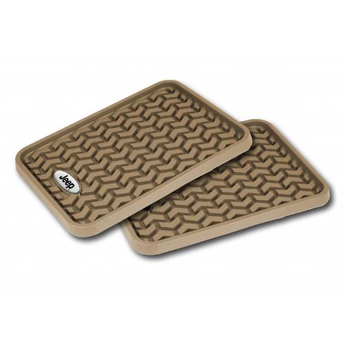 Fat Bob's Garage, Rugged Ridge, Part #DMC-83950.01, Rear Tan Floor Liner Pair With Jeep Logo Universal Application MAIN