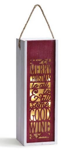 Merry Christmas Good Wine Lantern