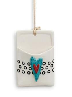 Blue Heart Ceramic Wall Pocket
