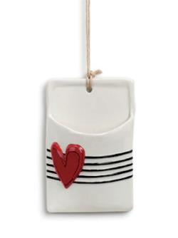Red Heart Ceramic Wall Pocket