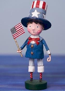 Patriotic boy holding flag with top hat figure THUMBNAIL