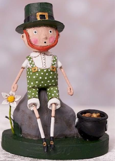Irish boy sitting on rock with pot of gold figure LARGE