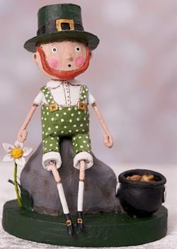 Irish boy sitting on rock with pot of gold figure THUMBNAIL