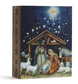 Lit Starry Night Nativity Scene Box
