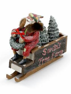 Santa on Tree Farm Sled