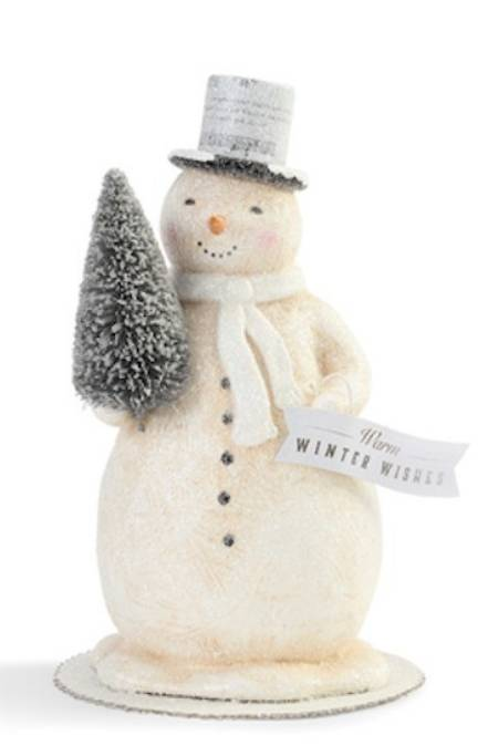 Winter Wishes Snowman with Tree Figure LARGE
