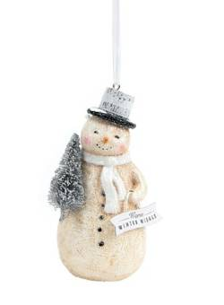 Snowman with Banner & Tree Ornament THUMBNAIL