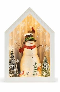 Lit Winter Woodland Snowman Shadow Box THUMBNAIL