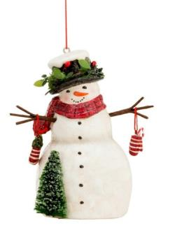 Festive Snowman with Top Hat Ornament THUMBNAIL