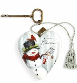 Snowman with Top Hat Decorative Art Heart THUMBNAIL