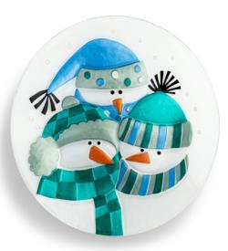 Snowman Family Round Plate