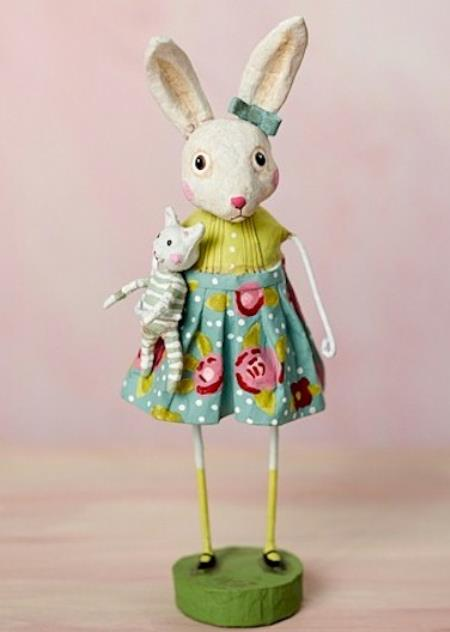 Easter Rabbit Figure with floral skirt holding cat. LARGE