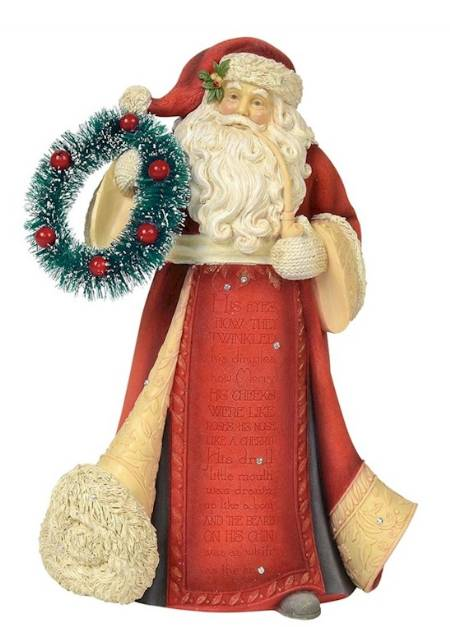 Santa with Wreath Figure LARGE