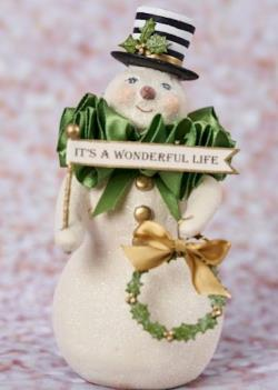 Snowman figure with striped top hat, wreath and its a wonderful life sign THUMBNAIL