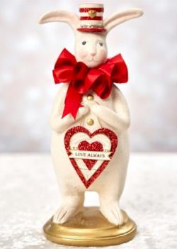 Valentine rabbit with striped hat and love always heart sign. THUMBNAIL