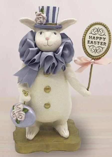 Rabbit figure with lovely lavender hat and collar and Happy Easter sign LARGE