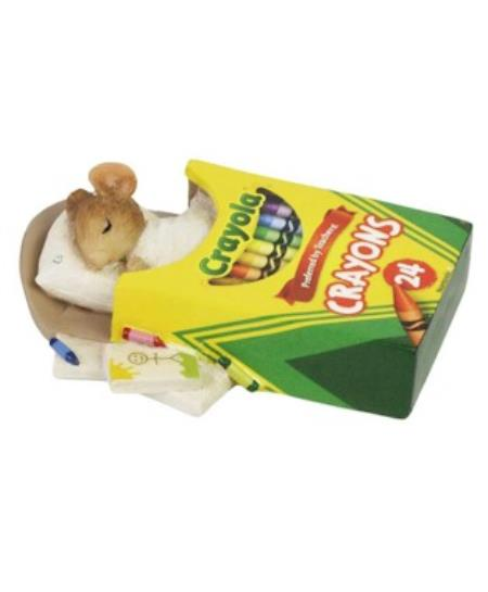 Mouse sleeping in crayon box bed figure LARGE