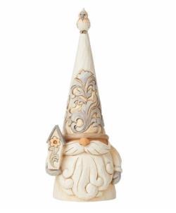 Woodland Gnome Holding Birdhouse