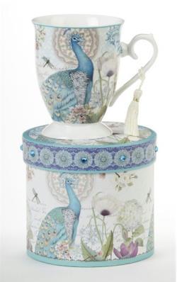 Peacock Porcelain Mug in Gift Box