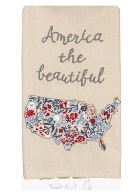 Linen Dish towel with map of the United States embroidered LARGE