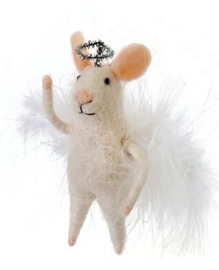 Mouse Figure with Angel Wings and Halo LARGE
