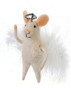 Mouse Figure with Angel Wings and Halo